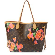 Louis Vuitton Vintage Louis Vuitton x Stephen Sprouse Graffiti Roses... ($2,100) ❤ liked on Polyvore featuring bags, handbags, brown, white handbags, genuine leather purse, louis vuitton purse, monogrammed purses and vintage leather purse