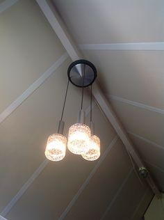 Design lamp. Hanglamp met 3 lusters en originele plafondplaat.   Nieuw binnengekomen   Fennies Vintage