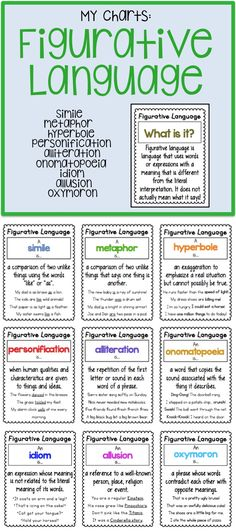9 mini and standard size Figurative Language Charts!