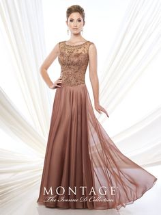 Ivonne D Exclusively for Mon Cheri - 215D12 - Two-tone chiffon full A-line gown with hand-beaded slight cap sleeves and bateau neckline, sweetheart bodice, beaded illusion back, sweep train.Sizes: 4 – 20, 16W – 26WColors: Light Copper, Pewter, Sapphire