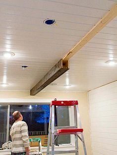 Learn how to create beams from inexpensive lightweight boards that look just like reclaimed timber. Such a great idea to add some character to your home. Home Renovation, Home Remodeling, Faux Wood Beams, Timber Beams, Timber Wood, Wood Paneling, Diy Holz, Wood Ceilings, Shiplap Ceiling