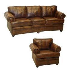 Tudor Bourbon Hand-rubbed Italian Leather Sofa and Chair