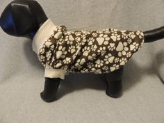 Small Flannel Dog T-Shirt Brown with Paws by favorite4paws on Etsy