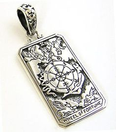 WHEEL-OF-FORTUNE-TAROT-CARD-DOG-TAG-STERLING-925-SILVER-PENDANT