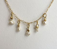 Pearl necklace gold plated chain necklace gold by NGTAcreations, $32.00