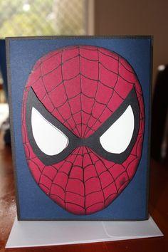Spiderman Birthday Card - Stampin'Up! Cardstock, Cherry Cobbler, Black, Whisper White, Midnight Muse