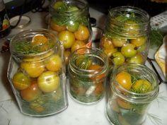 1 kg.di pomodorini verdi tondi foglie di alloro finocchietto selvatico aneto aglio chiodi di garofano spicchi d'aglio peperoncino secco pepe verde in grani 1 litro di aceto bianco 100ml d'acqua 1 cucchiaio di sale fine