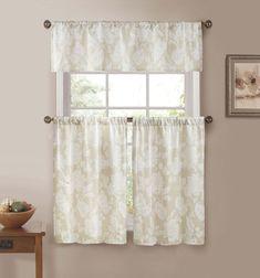 Modern Jacquard Kitchen Window Curtain Drape Tier & Valance Swag Set - Beige #DESIGNERLINENS #Contemporary