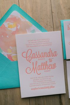 PEFRECT color combo for your Spring/Summer Wedding! Fabulous Turquoise and Coral Letterpress Wedding Invitation with a gorgeous Watercolor Floral Envelope Liner. CAITLIN Floral Collection by Just Invite Me!