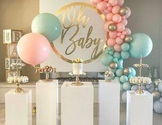 Ideas For Baby Reveal Ideas Balloons Gender Reveal Party Decorations, Baby Gender Reveal Party, Gender Party, Birthday Decorations, Gender Reveal Balloons, Deco Baby Shower, Baby Shower Parties, Baby Boy Shower, Baby Showers