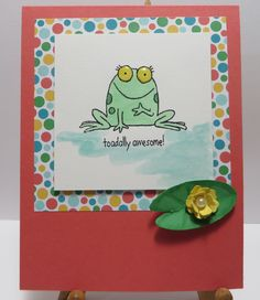 Frog watercolored card made by Lynn Gauthier using Stampin' Up You're Sublime stamp set. Card base is new Watermelon Wonder cardstock and front panel is Cherry On Top DSP Stack. It's amazingly easy to watercolor on SU's Shimmery White cardstock.