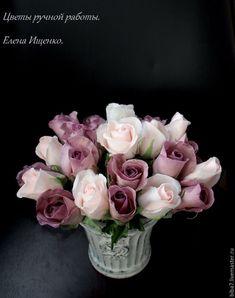 Купить Букет роз из полимерной глины. Керамическая флористика - разноцветный, розовый, сиреневый, пепельный