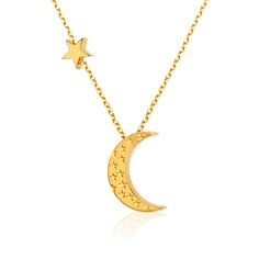 Minimalistyczny naszyjnik z księżycem oraz gwiazdką wykonany ze srebra próby 925 złoconego 24K złotem #star #moon #necklace #jewelry #jewellery #gold