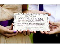 Golden Ticket wedding invitations