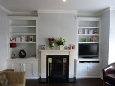 Alcove shelving with DVD slot Built In Cupboards Living Room, Living Room Shelves, Living Room Storage, Living Room With Fireplace, New Living Room, Living Room Decor, Living Area, Dining Room, Alcove Storage