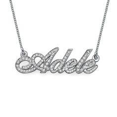 14K White Gold Diamond Nameplate Necklace – Be Monogrammed