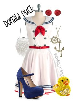 """""""Donald Duck"""" by polyspolyvore ❤ liked on Polyvore featuring Forever New, women's clothing, women's fashion, women, female, woman, misses, juniors, disney and donald duck"""