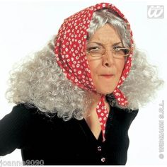 @Beth Schneider GRANNY OLD LADY WOMAN FANCY DRESS HALLOWEEN GREY WIG WITH RED HEADSCARF COSTUME on eBay!