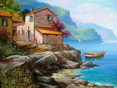 Costa Amalfitana Boat Painting, Artist Painting, Seascape Paintings, Landscape Paintings, Pictures To Paint, Art Pictures, Watercolor Landscape, Watercolor Paintings, Picture Borders