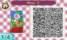 ACNL Standee QR code basket of kittens