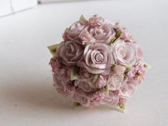 1/12th scale dollhouse miniature boquet with handmade roses