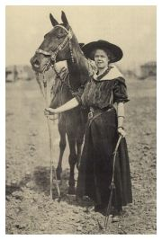 "Lucille Mulhall: Born on October 21, 1885, Lucille was a famous trick rider and made her the first cowgirl. On November 12, a Wild West show was held on the fairgrounds in the large Livestock Forum. Lucille was one of nine featured acts (which did include Will Rogers). She gave exhibitions of riding and would exhibit her famous high school horse, ""Governor."""