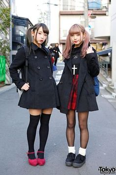 Mim & Mam are Japanese twin sisters, and Zipper Magazine models, who are often in #Harajuku. When we spotted them this time, they were wearing matching E Hyphen World Gallery coats, Vivienne Westwood, Bon Bon, Tokyo Chiip Lovers & more. Mim is on the right with pink hair, Mam on the left. #tokyofashion #street snap