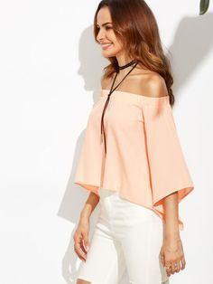 Blusa con hombros al aire y abertura en espalda - rosa-Spanish SheIn(Sheinside) Sitio Móvil