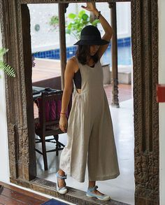 Linen jumpsuit linen overalls linen maxi dress women linen What To Do Before You Travel Before I go on a brand new trip, whatever the reason, stress does n White Jumpsuit, Jumpsuit Dress, Eco Clothing, Inspiration Mode, Linen Dresses, Maxi Dresses, Overall Dress, Diy Clothes, Ideias Fashion