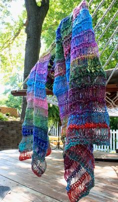 pattern name: One Skein-A Stole! yarn is one skein of Noro Silk Garden Sock yarn....drool! so beautiful