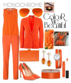 """""""Orange IS my favorite color"""" by jayme-becker ❤ liked on Polyvore featuring Boutique Moschino, Dorothy Perkins, Jimmy Choo, Ray-Ban, Topshop, Edie Parker, Lenox, Baume & Mercier, Casetify and Anastasia Beverly Hills"""
