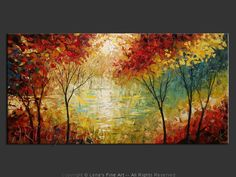 New artwork for our living room. Beautiful piece!  Buy from artist direct: original canvas painting by Lena Karpinsky - Silent Lake.