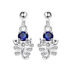 Firewings 925 Sterling Silver Plated Gemstone Leaf Swarovski Crystal Drop Dangle Earrings * Check out this great product. Note:It is Affiliate Link to Amazon.
