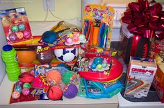 Some of the fun toys and games we sent as gifts for soldiers in the U.S. military.
