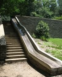 Retaining wall with STAIRS AND SLIDE ... LOVE
