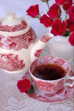 Red and white toile vintage inspired tea pot and cup
