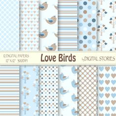 """Baby Boy Digital Paper: """"LOVE BIRDS"""" Blue White Beige with hearts, birds, trees for scrapbooking, invites, cards"""