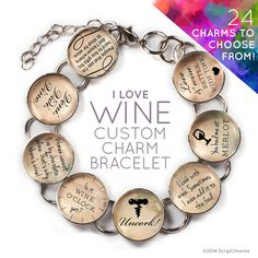 I Love of Wine - Custom Glass Charm Bracelet with Silver Wine Bottle Charm by ScriptCharms    If she loves wine, she'll love this charm bracelet! Choose 8 of our 24 charms to create your one-of-a-kind beautiful silver plated metal and glass charm bracelet. Includes a dangling, silver plated wine bottle charm at the clasp
