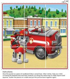 This puzzle is perfect for preschoolers and features Marshall the dalmatian from Paw Patrol with his fire truck! Paw Patrol Party, Paw Patrol Birthday, Baby First Birthday, Boy Birthday Parties, Escudo Paw Patrol, Community Helpers Preschool, Fire Safety, Winter Kids, Infant Activities