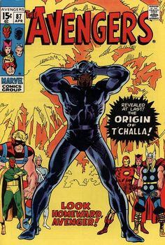 Black Panther - 1971 The Avengers Marvel Comics (Featuring John Buscema and John Verpoorten Cover/Art; Origin of Black Panther) Marvel Dc Comics, Old Comics, Marvel Comic Books, Vintage Comics, Comic Book Characters, Comic Book Heroes, Marvel Heroes, Comic Character, Comic Books Art