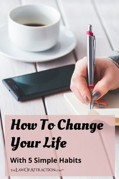 Here are 5 simple habits that can help change your life COMPLETELY. These can send you in the right direction toward positive, long-lasting change. Positive Thinker, Positive Attitude, Time For Change, Change My Life, Positive Living, Change Your Mindset, Transform Your Life, Energy Level, Feeling Loved
