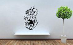 Wall Decor Vinyl Decal Sticker Yin Yang Dragon Tz506