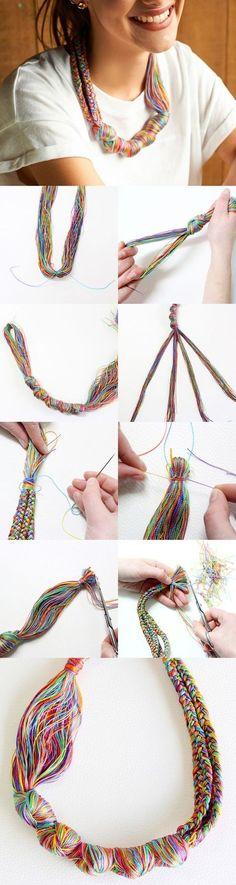 DIY: Embroidery Thread Necklace ideal con nuestros cordones franceses, los encuentras en www.mansmagicas.com
