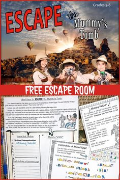 ESCAPE ROOM | BREAKOUT | END OF YEAR | This FREE resource is perfect for the end of the year, to leave with a sub, or to use anytime you want your kids to experience some self-directed learning. It begins when you- the most awesome and creative teacher in the history of the world- take your class to tour the great pyramids of Egypt. The kids must work to solve a series of FUN challenges based on reading comprehension and steeped with a variety of skills that begin with FOLLOWING DIRECTIONS!