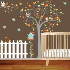 Swirl tree with lilac flowers birds,birdhouse,fence,branch Nursery Vinyl Wall Decal Sticker