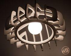 Wood Pendant Light, Pendant Chandelier, Hanging Pendants, Lamp Design, Wood Design, Lighting Design, Laser Cut Lamps, Idee Diy, Wooden Lamp