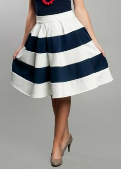 This fun, sailor-inspired skirt has a vintage look and appeal! With its thick navy blue and white stripes and waist-high fit, this skirt is a perfect mix of modern and classic. $39.99