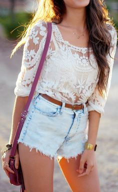lace top & high waisted shorts.