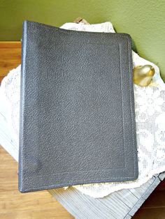 Vintage Binder, leatherette, mid sized 7x10 inch, US Govt issue, notebook with paper, approx 60 blank sheets, last used in 1994 by EKRdoodleVintage on Etsy