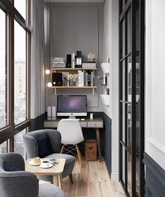 Home Office Design, Home Office Decor, House Design, Home Decor, Office Ideas, Office Designs, Design Offices, Modern Apartment Design, Ikea Office